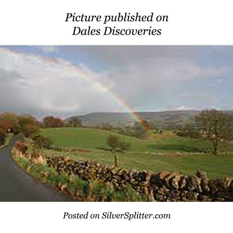 Picture of a Yorkshire stonewall and rainbow overhead, published on Dales Discoveries; and posted on SilverSplitter.com