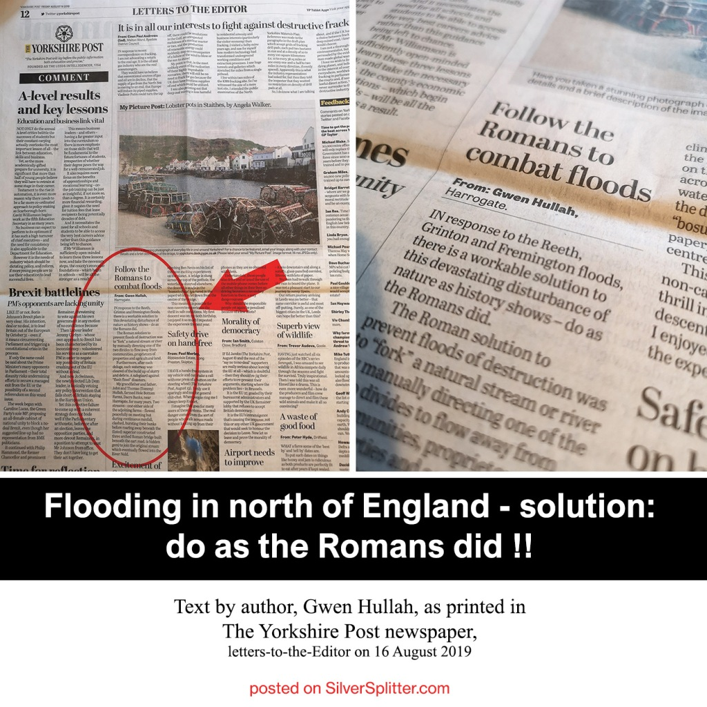 Picture of article: a letter to the Editor of The Yorkshire Post from author, Gwen Hullah regarding combating floods the Roman way